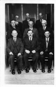 The Hall Committee on Opening  Day, June 1 1957 Back Row: John Griffiths, T Islwyn Davies, D J James Middle: D G  Jones, Idris Williams, J H Williams Front: E L Jones, D D Davies, T S Davies