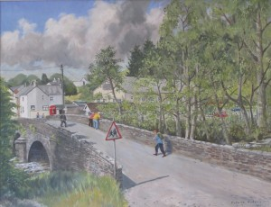 This view across the Marlais Bridge was painted recently by Dale Hudson, Castle Green, as a part of the Village Hall's Heritage project.