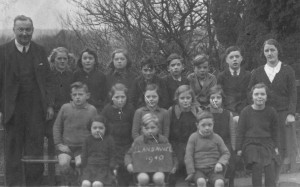 Llansawel School Class of 1940 (Part Two)  Left to Right. Back row: William Jones Headmaster, Mary Evelyn George Pistillgwyn, May Evans Garreg, Megan Roberts Cwm Login, Alwyn Davies Glynmarch, John Davies Post Office, Emrys Williams Swan Fach, Gwynfor Price Pantmawr, Miss Olwen Evans Uncertified Assistant Middle Row: Emlyn George Pistillgwyn, Beryl Lewis Marlais View, Evelyn Lewis Frondeg, Marion Davies Post Office, Brenda Davies Post Office, Rhiannon Williams Rhyd y Gân. Front Row: Meirion Williams Rhyd y Gân, Meirion Lewis Marlais View, Harry Roberts Cwm Login