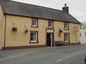 The Angel Inn at the edge of the village, a striking landmark.  Its accommodation is often used by cycling enthusiasts.