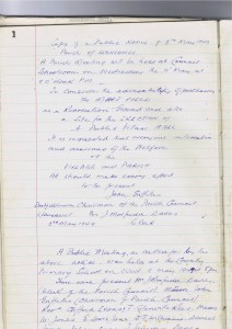 On the first page of the Hall Committee's handwritten minute book, the secretary copied the poster announcing the May 11 1949 public meeting to discuss the building of a hall.