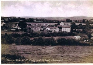 This picture is believed to have been taken around 1935.  The field between the two hedges is the Old Mart Field.  An iron shed stands where the hall is now.