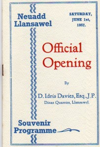 The cover of the programme for the opening of the Hall